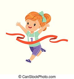 Cute girl running to the finish line first, kids physical activity concept vector Illustration on a white background