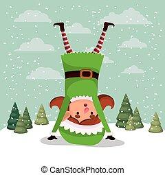 cute girl santa helper in the snowscape vector illustration...