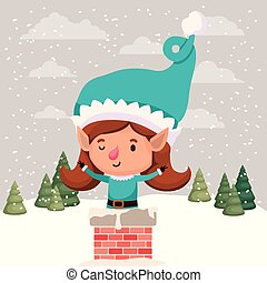 cute girl santa helper with chimney vector illustration...