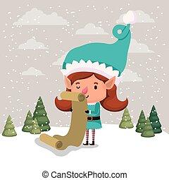 cute girl santa helper with gifts list vector illustration...