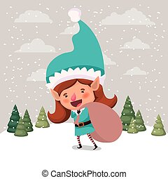 cute girl santa helper with gifts sack vector illustration...