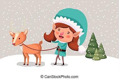 cute girl santa helper with reindeer in snowscape - girl...