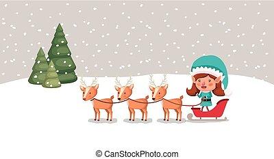 cute girl santa helper with sled and reindeer vector...