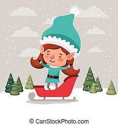 cute girl santa helper with sled vector illustration design