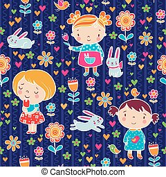 Cute girl seamless pattern.