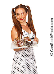 Cute Girl Serving Up Candy Apples