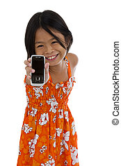 cute girl showing her cellular phone