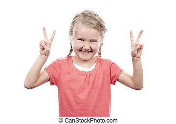 cute girl showing victory sign