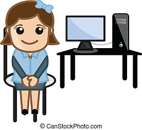 Cute Girl Sitting with Computer