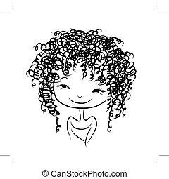 Cute girl smiling, sketch for your design, vector illustration