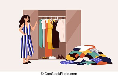 Cute girl standing in front of opened wardrobe with apparel hanging inside and pile of clothes on floor. Concept of closet declutter and organization. Flat cartoon colorful vector illustration.