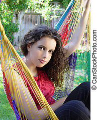 Cute girl in a hammock