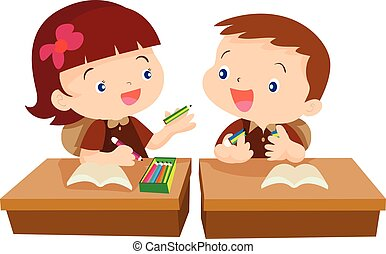Cute girl student giving for friend - Vector of Cute girl ...