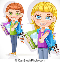Cute girl student with a backpack and a textbook