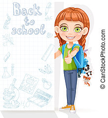 Cute girl student with a big banner for your text
