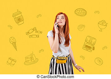 Cute girl talking on the phone and feeling hungry