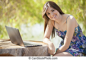 Cute girl telecommuting
