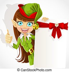 Cute girl the Christmas elf with a banner for your ...
