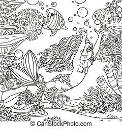 Cute girl the mermaid floats having extended hands forward on underwater world with corals, fish, algae and anemones background outlined