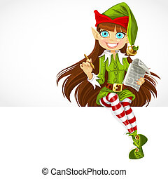 Cute girl the New Year's elf ready to record wishes sit on...