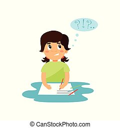 Cute girl thinking while writing in her notebook vector Illustration on a white background