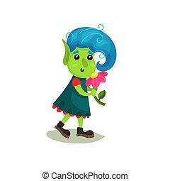 Cute girl troll with blue hair and green skin holding flower, funny fairy tale character vector Illustrations on a white background