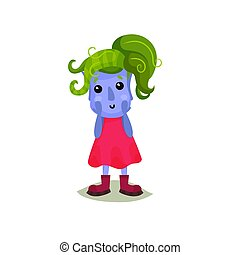 Cute girl troll with green hair, funny fairy tale character vector Illustrations on a white background