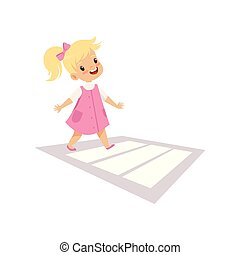 Cute Girl Using Cross Walk to Cross Street, Traffic Education, Rules, Safety of Kids in Traffic Vector Illustration