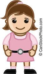 Cute Girl - Vector Cartoon