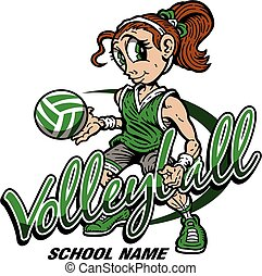 volleyball - cute girl volleyball team design for school, ...