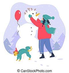 Cute girl walking with dog. Flat winter illustration