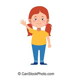 cute girl waving icon, flat design
