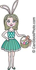 Cute girl wearing bunny ears on Easter day. EPS 8.