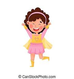 Cute Girl Wearing Superhero Costume Pretending to Have Super Power Vector Illustration