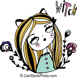Cute girl wit cat ears and text witch. Hand drawn sketch style illustration for female design