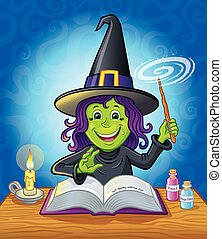Cute Girl Witch Casting A Spell - Cartoon illustration of a...