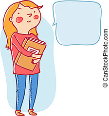 Cute girl with a book and speech bubble