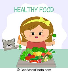 Cute girl with an yellow bow at the table, a plate with vegetables. The cat is looking. Healthy food, organic products.