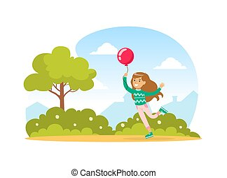 Cute Girl with Balloon Walking in the Park Outdoors, Kid Summer Outdoor Activity Cartoon Vector Illustration