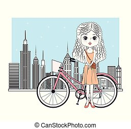 Cute girl with bike cartoon