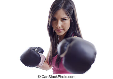 Cute girl with boxing gloves