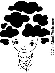 Cute girl with cloud hairstyle, sketch for your design