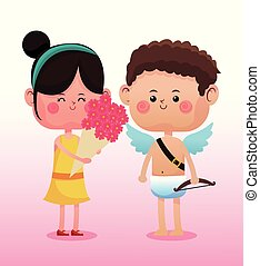Cute girl with cupid
