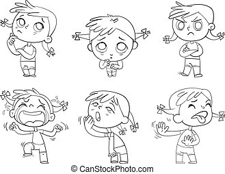 Cute girl with different emotions. Coloring book