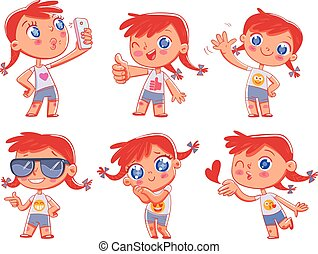 Cute girl with different emotions. Emoji Stickers Emotions