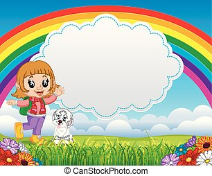 cute girl with dog in the park on rainbow day