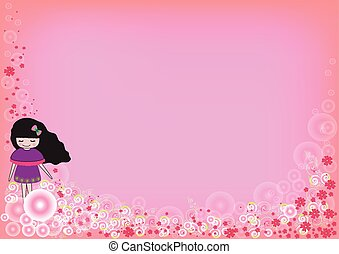 cute girl with flower group on a pink background