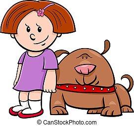 cute girl with funny dog cartoon illustration