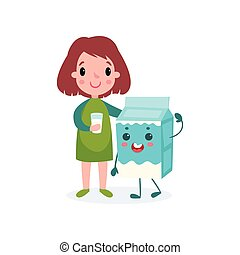 Cute girl with glass of milk and humanized cardboard milk box, healthy food for kid cartoon vector illustration
