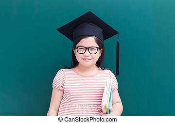 cute girl with green chalkboard